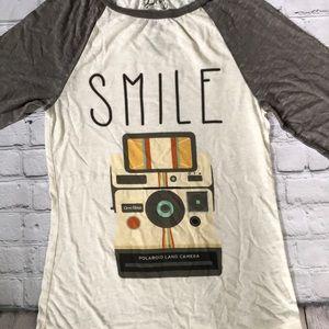 POLAROID SMILE Thin Henley M NWOT